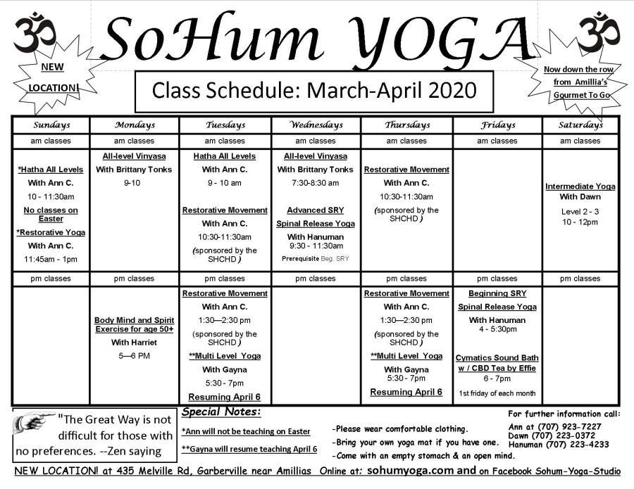 New sohum schedule